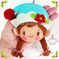 Felt PDF Pattern Christmas Elf Ornaments Boy Elf Girl Elf #casamagubako, #elf, #elves, #ornament, #felt, #sewing, #stitching, #pattern, #DIY, #feltro, #fieltro, #Christmas