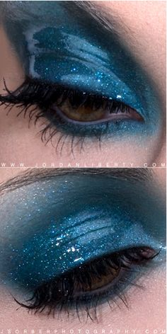 """The ""Wet Look"" for eyeshadow is really trending right now!  Although it's not always practical, it can be unique and pretty for special events!  All you need is to warm up a little bit of Vaseline and mix it with some eyeshadow.  Voila!"""