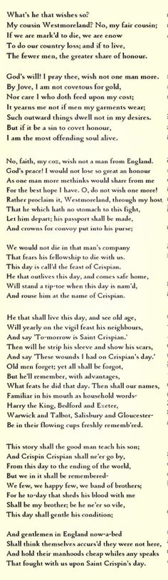 st crispins day speech of henry v english literature essay A very famous battle in the hundred years war between england and france was fought on st crispin's day in the year 1415 it was called the battle of agincourt and was a central part of the play henry v written by william shakespeare.