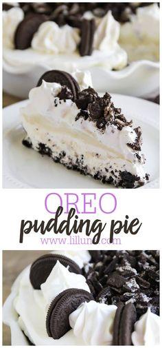 Oreo Pudding Pies, Oreo Pudding Dessert, Chocolate Pie With Pudding, Oreo Pie Recipes, Easy Desserts, Dessert Recipes, White Chocolate Oreos, Vegetarian Cookies, Oreo Crust