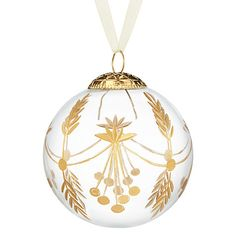 John Lewis Enchantment Glass Gold Etched Bauble, Clear