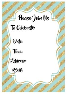 Printable Birthday Party Invitations From Granizmondal Can Be Used As Inspiration For A Birthday Invitations 7 13th Birthday Invitations, Birthday Party Invitations Free, 13th Birthday Parties, Printable Invitations, Party Printables, Party Invitation Templates, Gold Invitations, Invitation Ideas, 30th Birthday