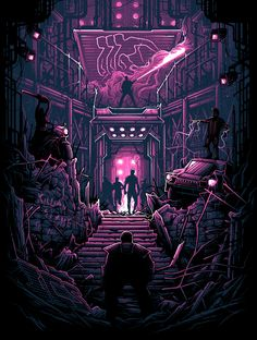 """""""We have one hell of a show for you tonight."""" x screen print, signed & numbered edition of 50 by Dan Mumford. Part of the Jeff Boyes and Dan Mumford art show at Cyberpunk, Science Fiction, Dan Mumford, Poster Series, Alternative Movie Posters, Arte Horror, Dark Fantasy Art, Sci Fi Art, Film Posters"""