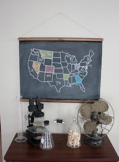 Handmade chalkboard! The map of USA is drawn in permanent white marker. You can color in the states you have visited as you go! How fun is geography now?!?! :) so cute, I might have to buy this off Etsy!!