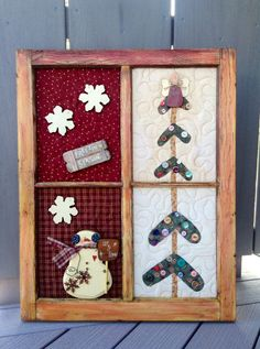 Recycled Vintage Window Frame . . . Wooden Snowmen and a Christmas Tree Quilted Wall Hanging on Etsy, $68.00