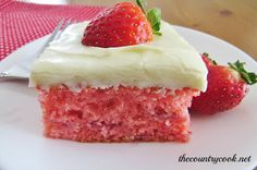 The Country Cook: Fresh Strawberry Cake. Made this tonight, really easy, really yummy! Made myself sick off strawberry cream cheese frosting!