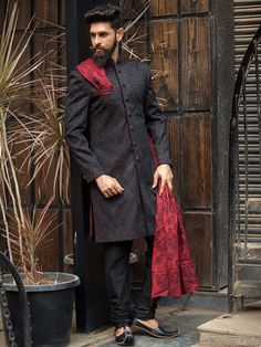 Black Silk Embroidered Indo western Sherwani