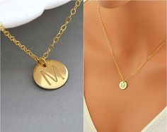 Initial Necklace, Disc Necklace, Personalized Necklace, Personalized Necklace Gold, Delicate Gold Necklace, Monogram Necklace, Initial Disc by malizbijoux. Explore more products on http://malizbijoux.etsy.com