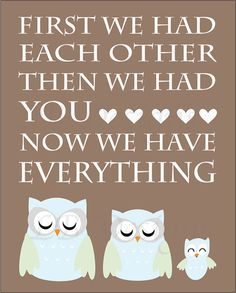 Brown Baby Blue and Mint Green Owl Nursery Quote by LJBrodock, $10.00