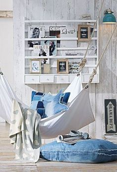 Love the casual hammock idea in white and jean theme.  What a great family room or bedroom idea for a teen or college student.