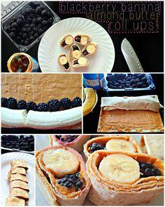 blackberry banana almond butter roll ups! 1 yellow, 1 purple, 1 teaspoon.