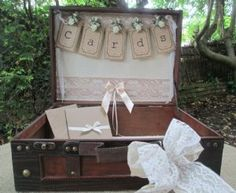 Suitcase Wedding Card Holder Post Box Vintage Style Bunting Design