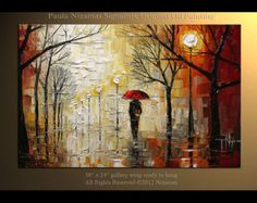 Palette Knife Oil on canvas Rain in the Park painting Nizamas ready to hang