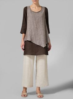 Linen Brown Double-Layer Wrap Top - Plus Size