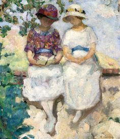 HENRI LEBASQUE (1865-1937) Vézillon, deux jeunes filles assises sur un mur
