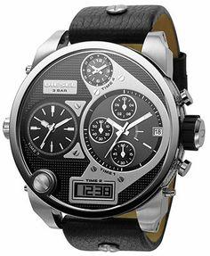 Diesel Watch, Analog Digital Black Leather Strap 65x57mm DZ7125