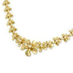 Yellow Gold Plumeria Necklace with Diamonds