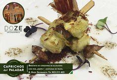 """... y para terminar como se merece la semana, acabamos de recibir esta propuestas gastronómica suculenta desde Salamanca, concretamente desde el """"Restaurante & Premium Bar Doze """", el cual nos muestra este plato compuesto por Brochetas de Corazón de Alcachofa con foie, jamón y aceitunas de Trufa ¿ apetece ? pues si estás por Salamanca no dejes de ir y probar este """"capricho para tu paladar""""  ¡ FELIZ FIN DE SEMANA !"""