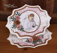 shaped Wedding Easel Card by Liz Walker