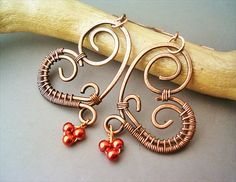 Wire Wrapped Heart Copper Earrings  wire wrapped by GearsFactory, €16.00