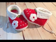 Botinhas de crochê Moranguinho tam. 10 cm (2-6 meses) - YouTube Crochet Daisy, All Free Crochet, Crochet Baby Shoes, Crochet Slippers, Baby Knitting Patterns, Crochet Patterns, Newborn Hats, Baby Hats, Knitted Baby Clothes