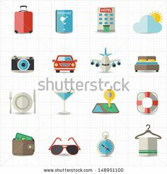 Travel And Hotel Holiday Icons Stock Vector 148951100 : Shutterstock