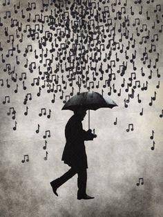 musical rain silhouette