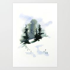 Snowy+Hillside+Watercolor+Art+Print+by+Frances+Dierken+-+$16.00