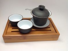 Gong Fu travel set 4pcs, Gaiwan  4oz with cups and bamboo tea tray