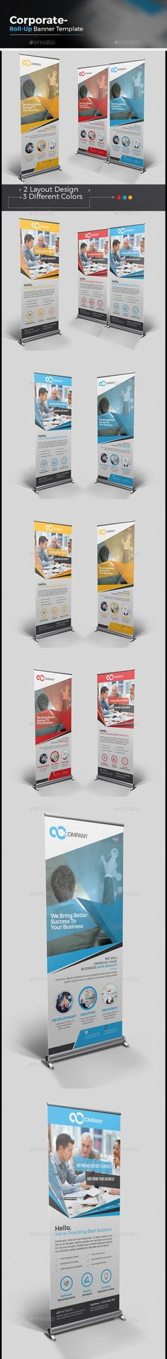 Buy Corporate Roll-up Banner by CRISTAL_P on GraphicRiver. Corporate Roll-up Banner is very easy to use and change text,color,size,look and everything because i made it on ill. Banner Vector, Banner Template, Flyer Template, Elegant Business Cards, Cool Business Cards, Letterhead Template, Brochure Template, Graphic Design Templates, Print Templates