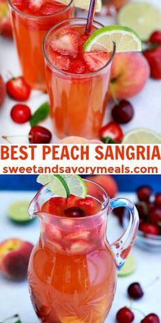 Sangria Drink, Cocktail Drinks, Summer Sangria, Bar Drinks, Summer Cocktails, Best Peach Sangria Recipe, Alcohol Drink Recipes, Peach Alcohol Drinks, Sweet Alcoholic Drinks
