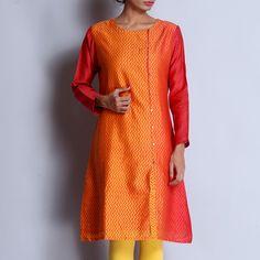 Pink & Yellow Chanderi Hand Block Printed Kurta With Front Button Detailing Kurta Designs Women, Indian Ethnic, Salwar Suits, Pink Yellow, Front Button, Kurti, Buttons, Printed, Cards