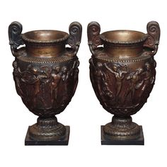 Pair Of Grand Tour Bronze Vases   From a unique collection of antique and modern sculptures at https://www.1stdibs.com/furniture/decorative-objects/sculptures/