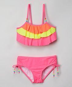 Look what I found on #zulily! Knockout Pink Color Block Bikini - Girls #zulilyfinds