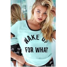"""Vs Pink """"Wake Up For What"""" Top Brand new with tags. Size medium. PINK Victoria's Secret Tops"""