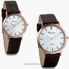 JewelryWe Simple Style Silver Dial Black Leather Strap His and Hers Wrist Watches Set of 2 Rose Golden  BUY NOW     $18.99    100% Brand new, never used, great quality.  New fashion design, water-resistant.  His and Hers Watches, Couples Watches, Pair of Wrist Watches, Men Women Watches.  Good choice as valentine anniversary gifts.  Daily w ..