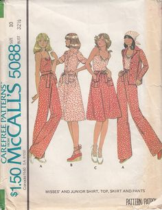 McCalls 5088 1970s Camisole Top Button Front Shirt by CedarSewing