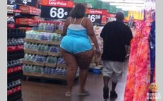 People Of Wal-Mart – Does she have a clue she needs about 5 sizes larger in this outfit??? Hellooo woman you have your own gravitational pull seriously cover that thing up Im going blind