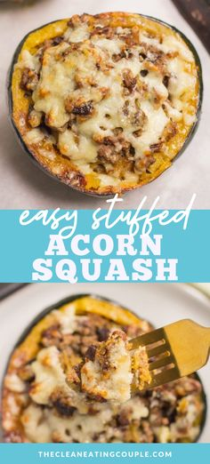 Beef Stuffed Acorn Squash is an easy, healthy dinner recipe the whole family will love. Packed with veggies & fall flavor, it's delicious & simple to make. You can substitute the beef with turkey or sausage. Add rice/ quinoa or keep it paleo as is! Easy + delicious - this is one of our favorite healthy dinners and seriously the BEST stuffed acorn squash recipe! #fall #recipe #healthy #healthyrecipe #acornsquash #fallfood Easy Meal Prep, Easy Healthy Dinners, Healthy Meal Prep, Healthy Cooking, Healthy Food, Healthy Eating, Healthy Gluten Free Recipes, Healthy Dinner Recipes, Paleo