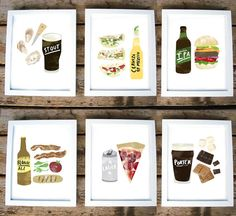 Set of 6.  5 x 7 beer/food prints by redcruiser on Etsy, $34.00.