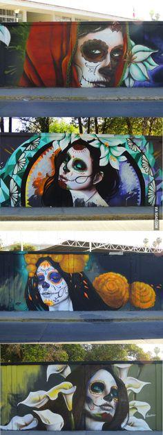 """Aguascalientes, Mexico ~ Graffiti of """"La Calavera Catrina"""", the work of cartoon illustrator Jose Guadalupe Posada."""