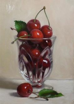 """Daily paintworks - """"cherries in glass"""" by debra becks cooper still life fruit, Still Life Pictures, Still Life Fruit, Realistic Paintings, Painting Still Life, Fruit Art, Still Life Photography, Fine Art Gallery, Painting & Drawing, Cool Art"""