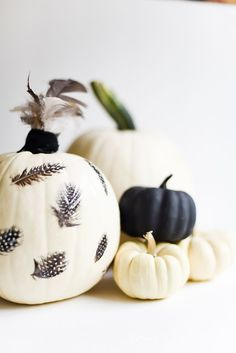 Feather Decoupage Pumpkin