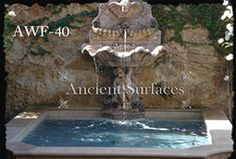 Ancient Reclaimed Stone Wall Fountain with an Angel Cherub Baby Face carved into the back of the fountain. Provenance, the south of France Wall Fountains, Limestone Wall, Elegant Living Room, Water Element, Garden Ideas, Backyard Ideas, Outdoor Landscaping, Stone Carving, Pool Designs