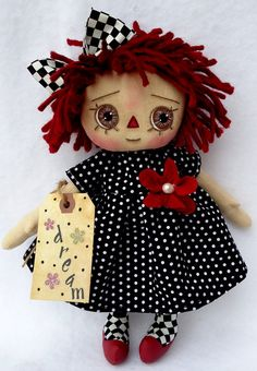 Primitive Raggedy Annie  Dream Girl by Allisbright on Etsy