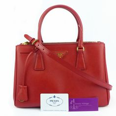 Prada lux  Red Color Saffiano Leather Gold Hardware Very Good Condition Ref.code-(KOYL-4) More Information Pls Email  (- luxuryvintagekl@ gmail.com )