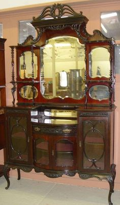 19c Victorian Mahogany Etagere Mirror Console