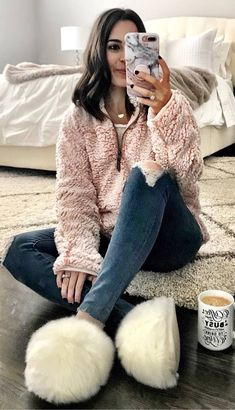 #winter #outfits pastel pink warm blouse, jeans