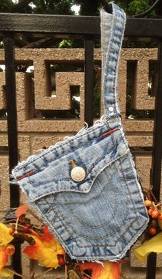 TRUE RELIGION jeans upcycled pocket denim belt bag/wristlet/evening bag by whackytacky.com AKA theoriginalpeoplecollar.com, $59.99