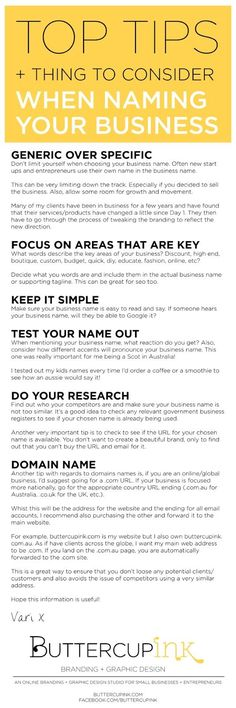 Tip Tips + Things to Consider when Naming your Business - ButterCup Ink Naming Your Business, Starting Your Own Business, Business Advice, Start Up Business, Business Names, Business Planning, Online Business, Business Education, Business Management